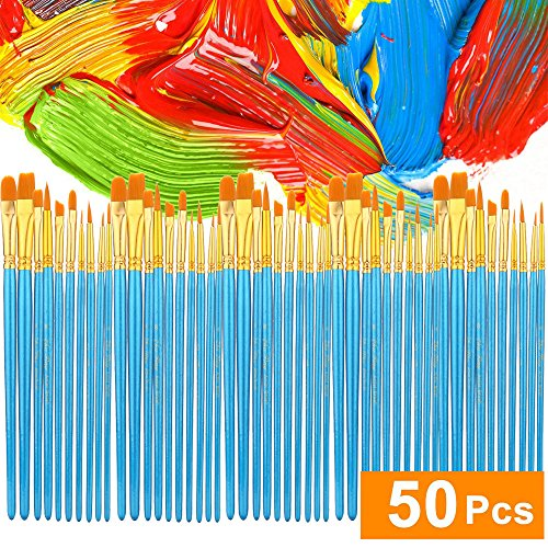 ATool Acrylic Paint Brushes Set, 5 Packs / 50 pcs Nylon Hair Brushes for All Purpose Oil WatercolPainting Artist Professional Kits