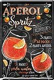 Aperol Spritz Cocktail, targa in metallo, con ricetta, 20 x 30 cm, per casa, bar, party, cantina, 126