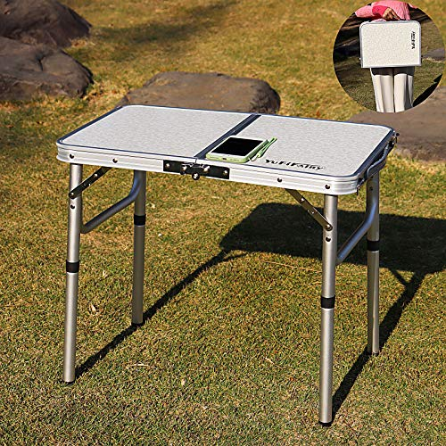YFFIREFLY 24#039#039x16#039#039 Folding Camping Table Small Picnic Folding Table Portable Adjustable Height Lightweight Aluminum Camping Table for PicnicBeach Outdoor Indoor Boat