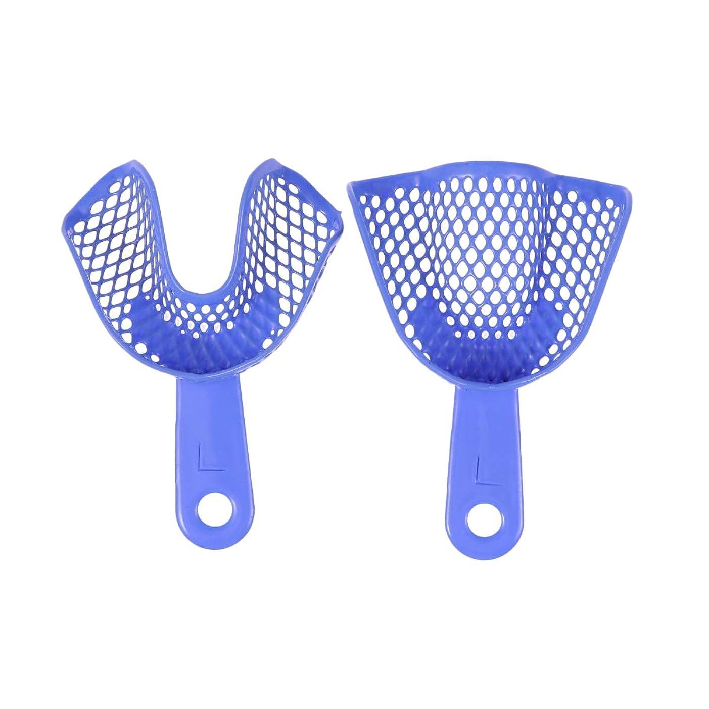 アイザック仮定する不快なHealifty 2個使い捨て歯科用印象トレイ歯トレイ歯科矯正材料(青、L)