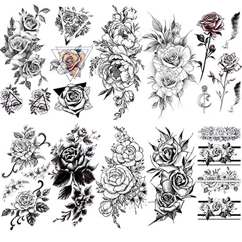 VANTATY 10 Sheets 3D Sexy Rose Flower Temporary Tattoos illustration Sticker For Women Girls Water Transfer Tattoo Body Arm Painting Fake Jewels Feather Leaf Designs Pomey Tatoos Lily