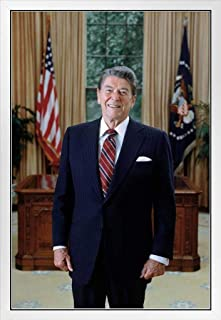 Ronald Reagan Official Presidential Portrait Photo White Wood Framed Poster 14x20