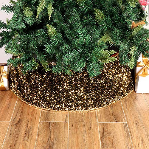 LASPERAL Christmas Tree Ring Christmas Tree Basket Christmas Tree Collar 30 Inches Base Sequin Tree Skirt Ring Plastics Sheets with Collar Cover Holiday Home Party Decor Ornaments in Gold