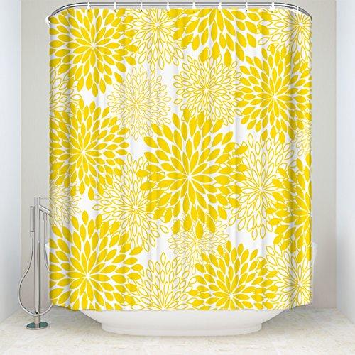 SUN-Shine Duschvorhang Dahlia Blumendruck wasserdichte Stoffvorhänge mit Haken Set 36x72IN gelb
