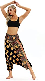 Sceoyche Men Women Casual Bohemian Loose Yoga Travel Lounge Festival Beach Print Pants
