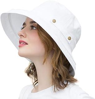 SOMALER Womens Cotton Wide Brim Sun Hats UPF50 UV Packable Beach Hat Summer Bucket Cap for Travel