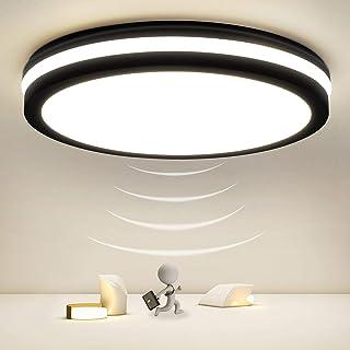 Plafón LED con detector de movimiento, 18W 1800LM, Plafón LED con detector de movimiento ajustable, lámpara con sensor impermeable IP54 para pasillo, baño, sótano, pasillo, garaje, almacén, 4000K