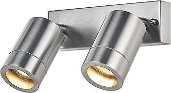 Punto Luce a muro regolabile IP44 per Esterni Acciaio Inox Alluminio pressofuso da Happy Homewares