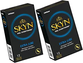 2X SKYN Extra Feel Everythig Lube Lubricated Non-Latex Polyisoprene Condoms Maximum Comfort Ultra Silky Lubrication 12 Pack