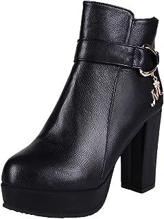 HebeTop Women's Wide Width Ankle Boots - Mid Chunky Block Heels Round Toe Slip on Side Zipper Booties