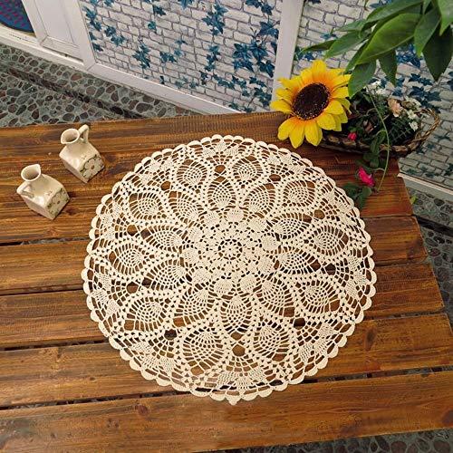 UHAPEER Handgefertigte Tischdecke Tischsets, Häkelmuster, Baumwolle mit Spitze, rund, 61 cm beige