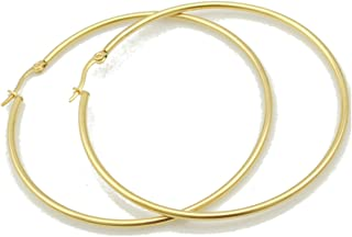 Classic Fashion Top Click Closure Surgical Steel Large Hoop Earrings (Size: 3
