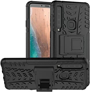 Galaxy A9 2018 Case,PUSHIMEI Air Cushion Heavy Duty Shockproof with Kickstand Hard PC Back Cover Soft TPU Dual Layer Protection Phone Stand Case Cover For Samsung A9 star pro/A9s(Black Kickstand case)