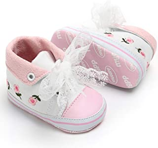 Tutoo Baby Shoe Boy Girl All Star High Top Sneakers Soft Non Slip Sole Newborn Laces First Walking Crib Canvas for 3-18 Months(Infant,Toddler)