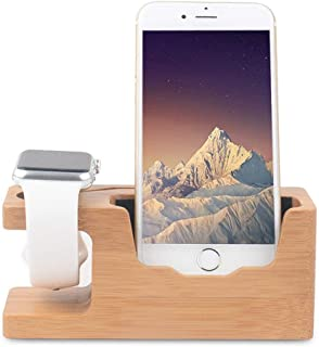 Apple Watch Stand, Ovtel Bamboo Wood Charging Bracket Docking Station Holder Compatible iPhone X/Smart Phone/iwatch Series 1 & 2 (38mm 42mm)