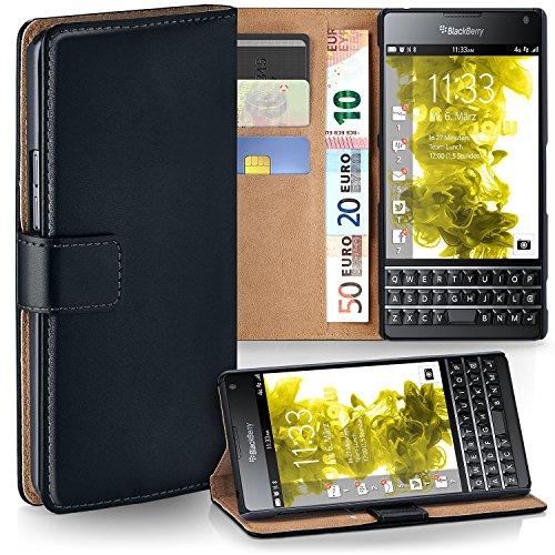 MoEx Premium Book-Hülle Handytasche passend für BlackBerry Passport   Handyhülle mit Kartenfach & Ständer - 360 Grad Schutz Handy Tasche, Schwarz