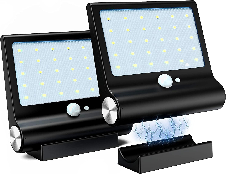 Luz Solar Exterior, M-T-K Lluminación Solar [Versión Desmontable Magnética] Foco Solar Potente con Sensor de Movimiento y 3 Modos de Lluminación Lámpara Luces Solares Jardín, 2-Pack