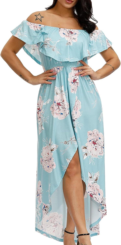 Off Shoulder Bodycon Summer Dress Strapless Flower Hawaiian Dress for Beach Party Casual