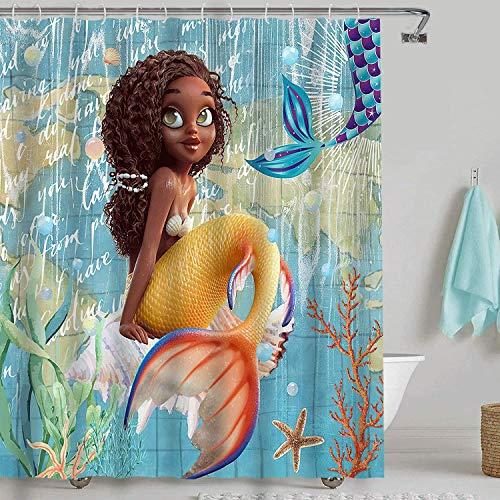 LKFBSC Nautische Meerjungfrau-Duschvorhänge, niedliche Meerjungfrau auf Ozeanblauem Hintergr&, Kinder-Duschvorhang, Badezimmer-Vorhang mit 12 Haken, 183 cm x 183 cm