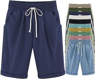 FABEILAI Women's Knee-Length Bermuda Casual Shorts with Elastic Waist Drawstring