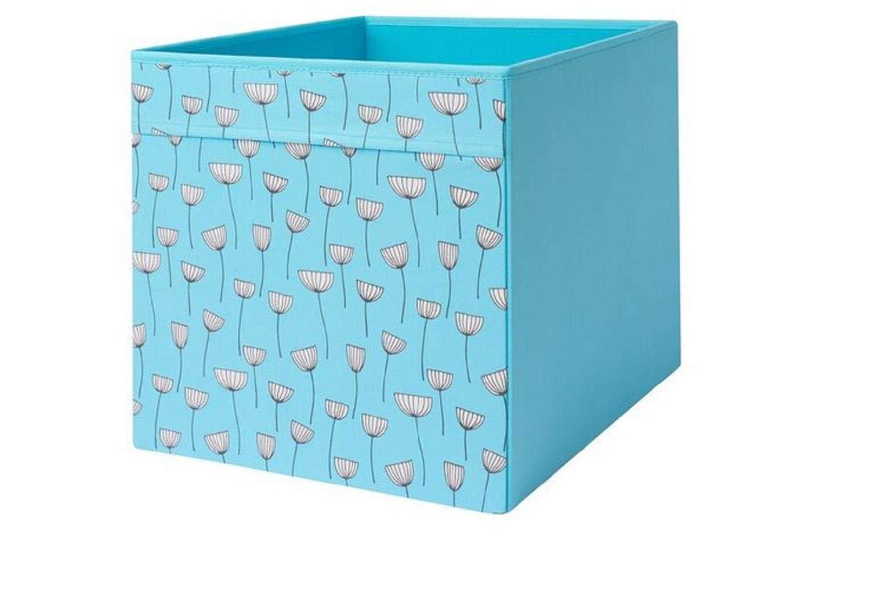 IKEA Drona Caja, diseño floral azul, 33 x 38 x 33 cm, color azul ...
