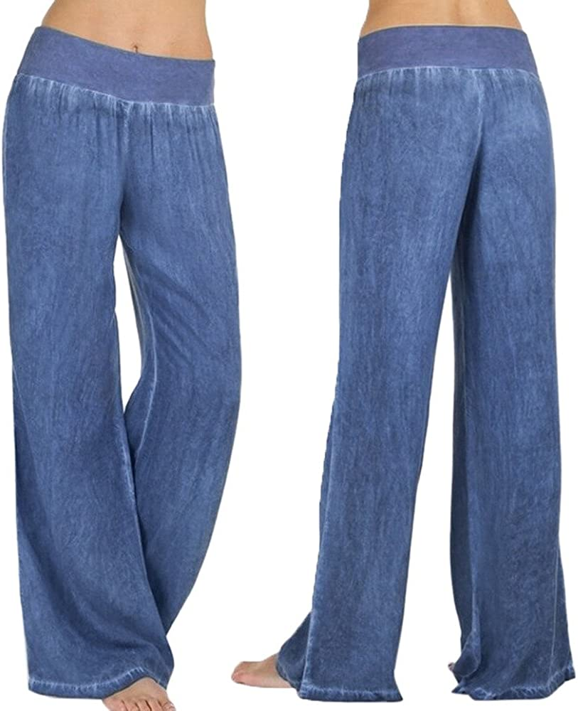 Huangse Women's Casual High Waist Long Pants Elasticity Denim Leg Wide Jeans Summer Loose Fit Trousers