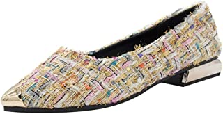 Flats Shoes for Women,WEUIE Classic Pointy Toe Ballerina Slip-on Ballet Comfort Walking Driving Single Shoes