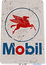 Tin Sign 8x12 inches Mobil Logo Rust Auto Shop Grease Art Gas Oil Garage Station Pump B072