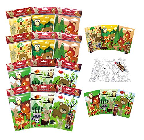 TINYMILLS Woodland Animals Coloring Book for Kids Party Favor Set with 12 Coloring Books and 48 Crayons Cute Forest Creatures Birthday Party Supplies Woodland Creatures Party Favor Bag Fillers
