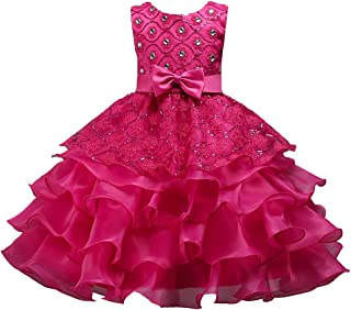 Girls Special Occasion Dresses Kids Ruffles Lace Party Wedding Dress