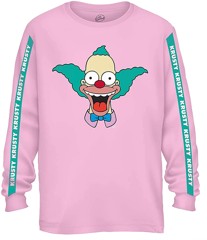 The Simpsons Mens Krusty The Clown Shirt Krusty Long Sleeve Logo Tee Graphic T-Shirt