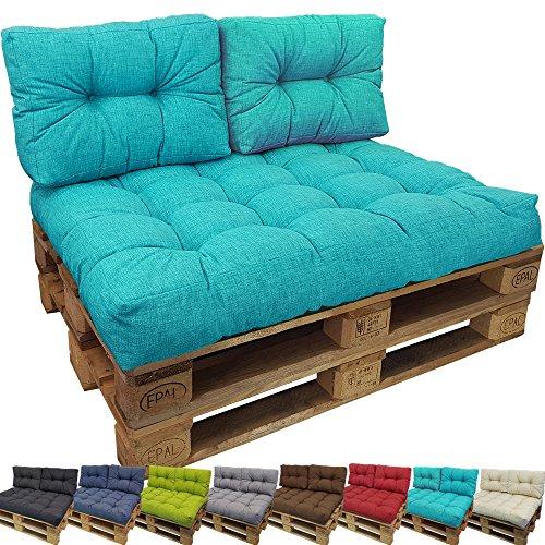 DILUMA Cojin para palés Confort - Cojin de Asiento o Respaldo para sofás palets - Repelente a Las Manchas (NO ES UN Set!), Color:Turquesa, Variante:1x Cojín De Respaldo 60x40 cm