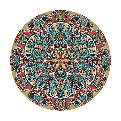 SWNN Carpet Bohemian Style Retro Folk Style Runder Teppich Weiches Und Bequemes Zuhause Schlafzimmer Nachttisch Computer Drehstuhl Fußmatte (Size : 160)