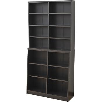 山善 本棚 幅90×奥行29×高さ180cm 大容量 安定感のある2段構え 棚板可動 壁面 収納 組立品 ダークブラウン SCOR-1890(DBR)