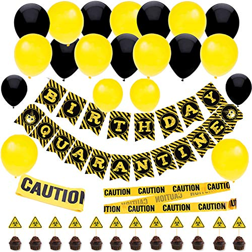 47 PCS Quarantine Birthday Party Decorations Quarantine Banner Quarantine Birthday Party Balloons Yellow and Black Balloons Caution Tape Quarantine Party Supplies For quarantine birthday decor