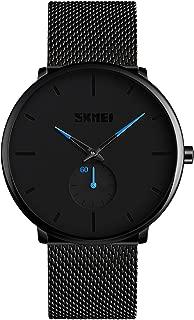 Men Watch Minimalist Fashion Wrist Watches,Kotime Waterproof 3 Bar Quartz Watch Stainless Steel Mesh Band Adjustable Business Dress Casual