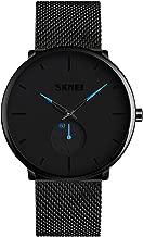 Men Watch Minimalist Fashion Wrist Watches,Kotime Waterproof 3 Bar Quartz Watch Black Stainless Steel Mesh Band Adjustable Business Dress Casual