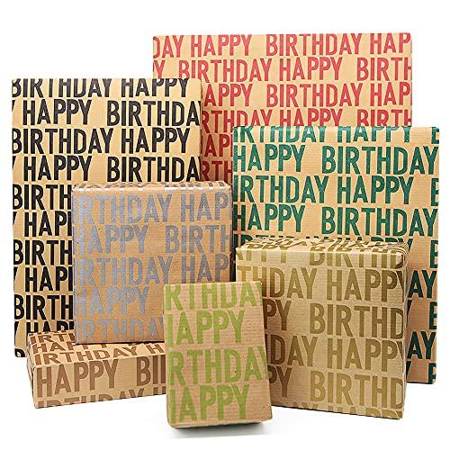 Kraft Geschenkpapier Geburtstag, Geschenkpapier Recycling, 7 Blatt 70 * 50 cm braunes gefaltetes Papier mit Jutesaiten, Aufklebern und Etiketten für alle Geburtstagsanlässe