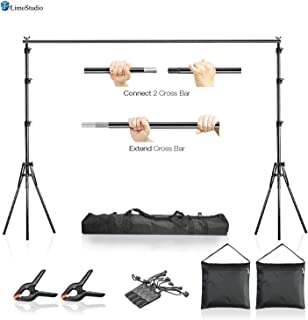 LimoStudio AGG2612 10 x 7.5 ft Adjustable Photo Video Background Muslin Stand, Backdrop Support System Kit with Accessories, Spring Clamp, Sand Bag