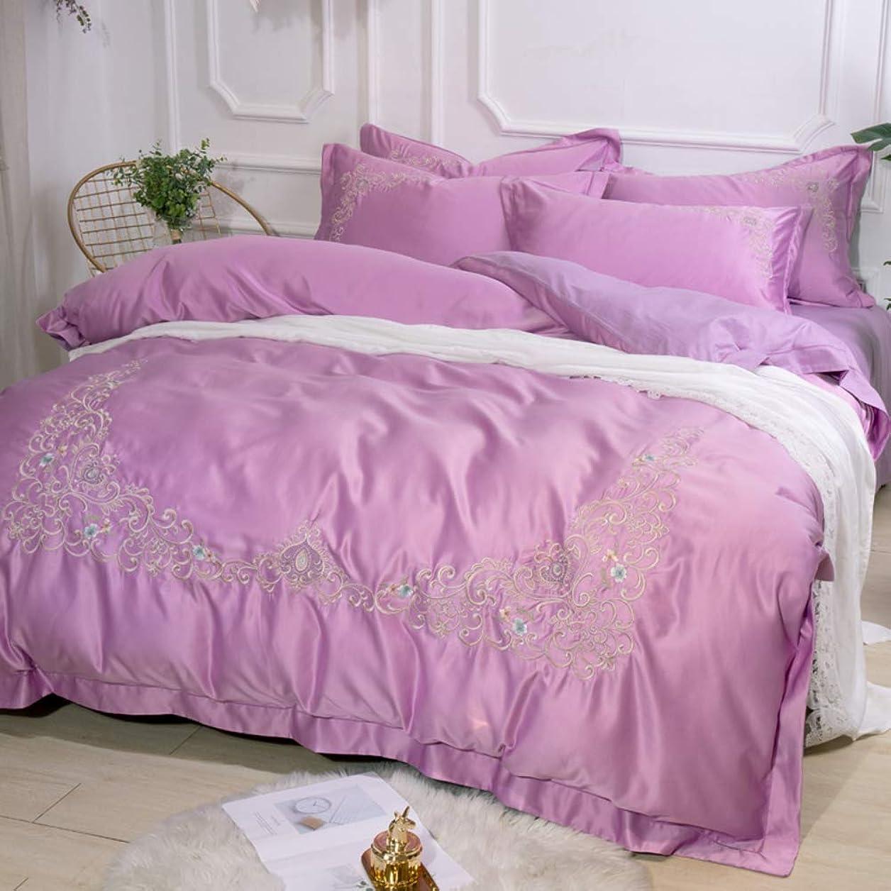 昼寝生態学植物学シルク 刺繍 綿サテン 寝具カバーセット, 4 ピース ジャカード ソフト 快適 綿 夏 クールな 肌-フレンドリー 寝具ベッド ファスナー付け-v