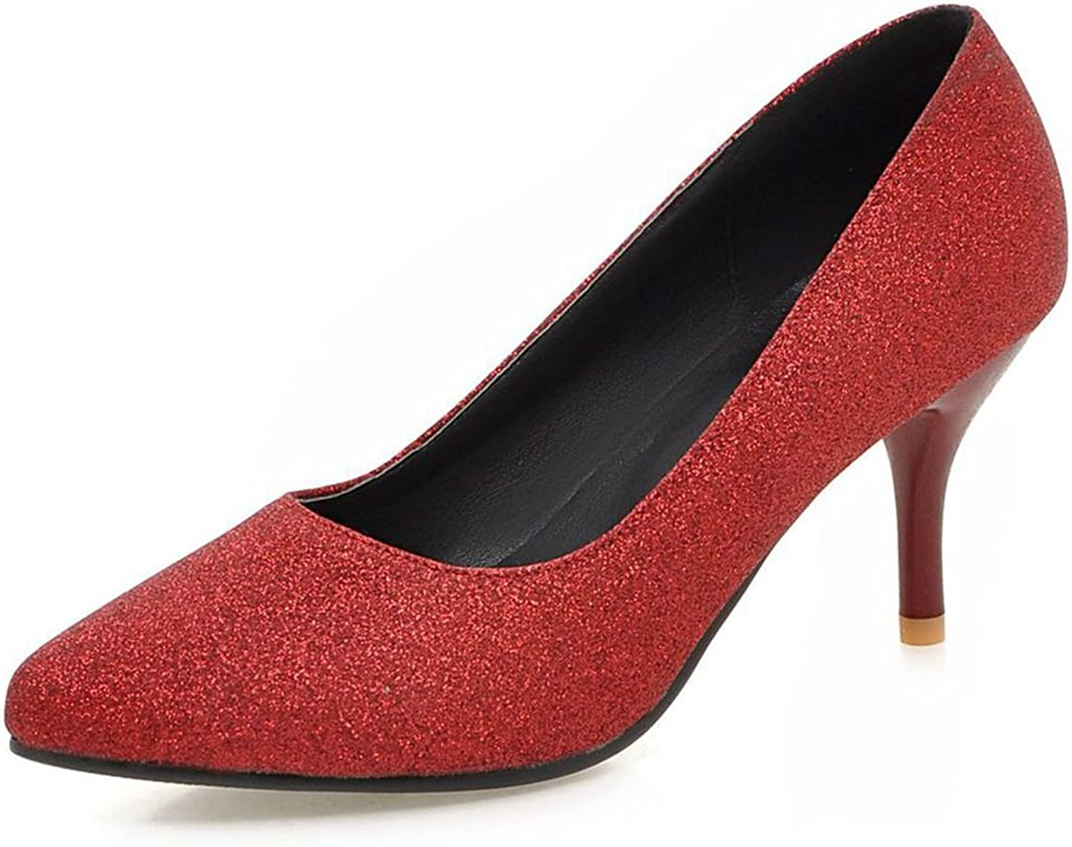 Kaloosh Women's Sexy Pointed Toe Glitter Fabric Thin Heels Party Court shoes Prom Pumps