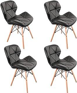 Luckeu - Juego de 4 sillas de comedor de piel con patas de madera, sillas modernas para salón, comedor, dormitorio, cocina, salón, restaurantes