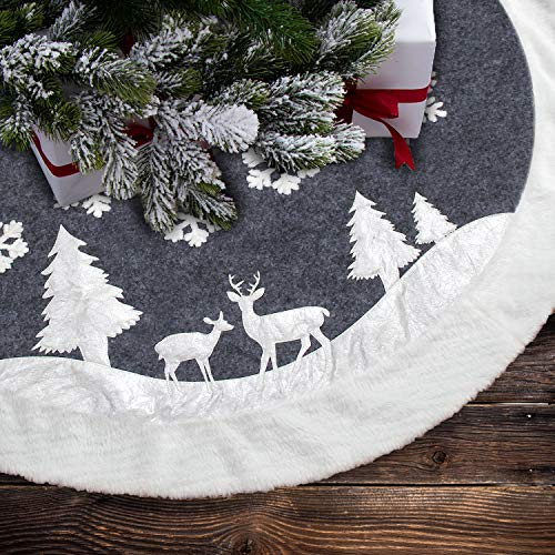 7Felicity Christmas Tree Skirt, Fur Rustic White Xmas Tree Skirt,Snowy Christmas Trees Mat Decorations Indoors,Deer and Snowflake Pattern (36 inches, Two Deers)