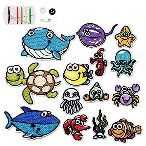 14 piezas parches ropa termoadhesivos para planchar en criaturas marinas Parche Parches de aplicación Para planchar parches termoadhesivos para DIY T-shirt Jeans Ropa Bolsas para niños y adult