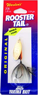Wordens Single Hook Rooster Tail Lure, 1/8-Ounce, Brown Trout
