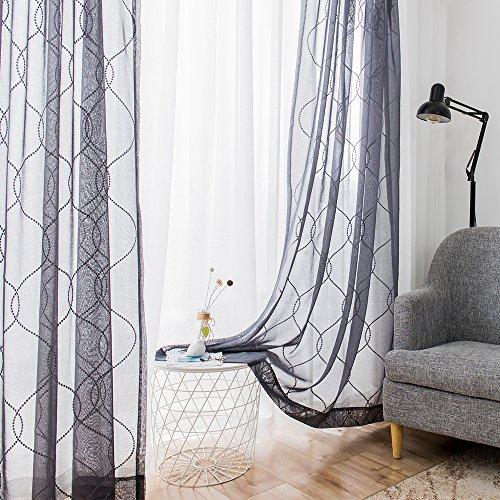 TOPICK 2 Stück Sheer Welle Stickerei Vorhänge mit Ösen. Bestickung Vorhang Gardinen Schal 140 cm x 225 cm (B x H) Grau