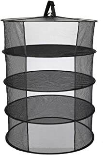 JHKSO 4 Layers Hanging Basket Folding Drying Net Rack Herb Dry Net Opening Shape Dryer Bag Mesh 600mm Diameter for Herbs Flowers