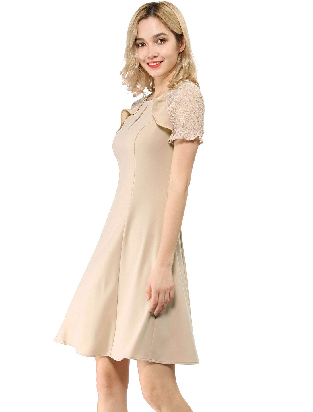 Allegra K 女式荷叶边锁眼蕾丝袖修身喇叭连衣裙