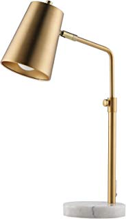 CO-Z Gold Desk Lamps with Marble Base, Elegant Metal Shade Task Lamps with 9.5W E26 Bulb for Table Living Room Bedroom Reading