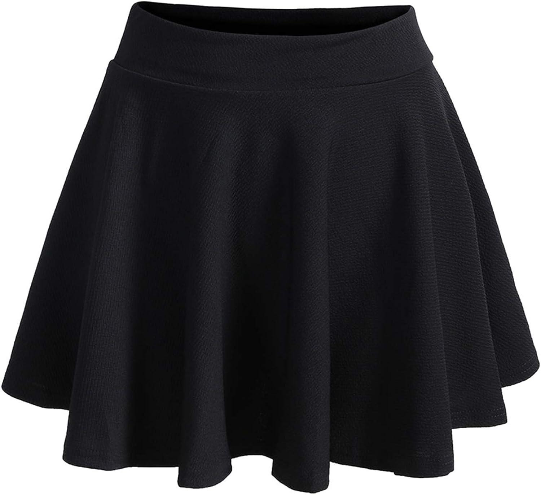 SOLY HUX Women's Plus Size Elastic Waist Flared Casual Mini Skater Skirt